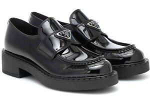 Prada Black Patent Leather Silver Logo Platform Loafer Creeper Slip On Flat 39