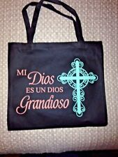 """My GOD is an AWESOME GOD"" Spanish  TOTE BAG 14/"" X 13""H,  Recycled Nylon *NEW*"