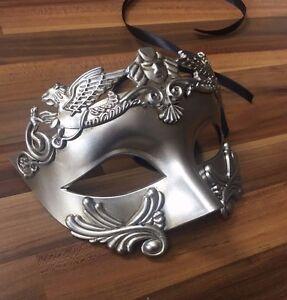 Mens Masquerade Mask Filigree Silver Venetian Ball Prom Halloween Party Phantom