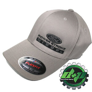 Ford POWERSTROKE truck diesel flexfit hat ball cap fitted S/M Charcoal Gray
