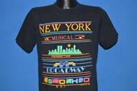 vtg 90s NEW YORK TOURIST MUSICAL MANHATTAN BROADWAY SOHO ART SKYLINE t-shirt M