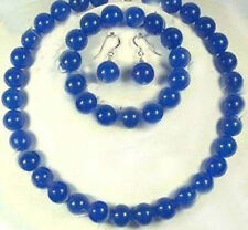 10mm Blue Sapphire Gemstones Round Beads Necklace bracelet Earrings set AAA