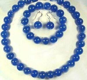 10mm Blue Sapphire Gemstones Round Beads Necklace bracelet Earrings set AAA