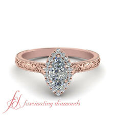 Marquise Cut Diamond Victorian Halo Engagement Ring In 18K Pink Gold 0.65 Ctw.
