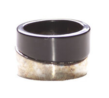 Minimalistic & Ultra Chic - Dual Coal Black & Chrome Swirl Metal Ring(Zx124)