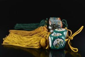 L2639: Japanese Stone jade/jewels HANGING-SCROLL WEIGHT Fuchin, Calligraphy tool