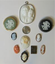 Cameos - Lot of 10 (Hardstone, Coral, Shell, Tiger-eye and Jasper)