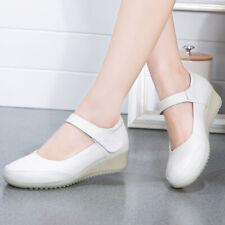 New Hospital Womens Leather Oxfords Comfort Nursing Shoes Wedge Nurse Work Shoes