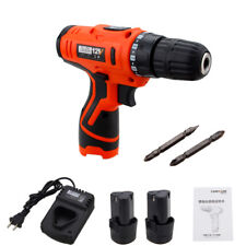 12V 1 Speed LED Electric Cordless Screwdriver Drill Driver + 2x Li-Ion Battery