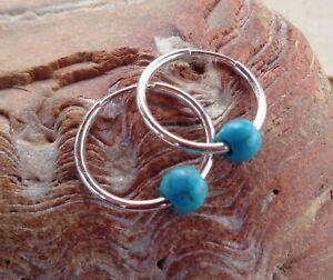 Turquoise Hoop Earrings 925 Sterling Silver