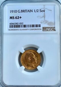 1910 Gold Half Sovereign NGC MS62+ Great Britain Edward