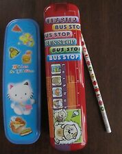 Kawaii rare lot Jiln & Elfin stationery set + Shunyi tin Bus Stop pencil case