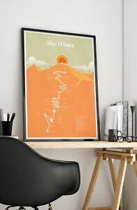 Alpe D'huez Tour de France Print - 21 Hairpin Climb cycling biking racing Poster