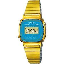 Gold Casio Ladies Digital Watch La670wga Blue
