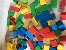 Vintage Wooden Building Blocks Multi Colours All Shapes And Sizes 68 Pieces Clar