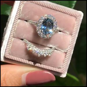 925 Silver Blue Sapphire Wedding Band Rings Set Women Fashion Jewelry Size 5-12
