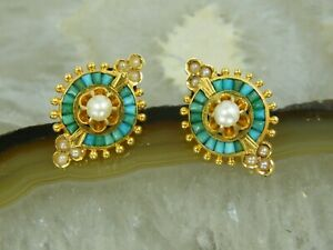 14k Antique Victorian Baguette Turquoise & Seed Pearl EARRINGS