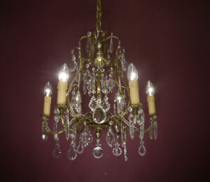 FINE OLD 6 LIGHT FRENCH CRYSTAL BEAUTIFUL SHAPE CHANDELIER CEILING LAMP