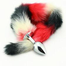 Large Metal Multi-Color Fur Fox Tail-Anal Bead-Plug Masturbation For Couple Game