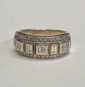 14k Yellow Gold EFFY Diamond Band Ring Size 7 Baguette Round