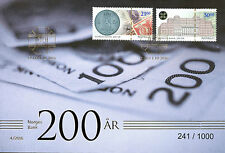 Norway 2016 FDC Central Bank 2v Set Golden Cover Bank Notes Coins on Stamps