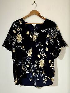 Witchery Top Size 12 Navy Blue Floral Art Print Oversized High-Low Cap SL NEW