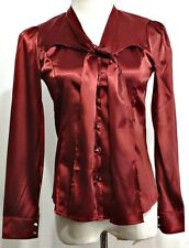 New with Tags!!  Yi Mei Er Fashion Burgundy Red Button Front Self Tie Shirt - S