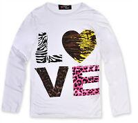 Girls Long Sleeve Top Kids Love Print T Shirt New Age 7 8 9 10 11 12 13 Years