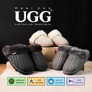 Ugg Real Aus 100% Australian Sheepskin Wool Women Knit Pattern Slipper Dark Grey