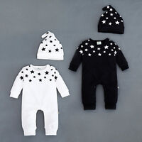 2018 BABY STARS ROMPER +HAT BABY BOY GIRL BABYGROWS OUTFITS CLOTHES BODYSUIT