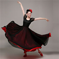 Women's Satin Chiffon Layer Dance Skirt 720 degrees Spanish Flamenco Dancewear
