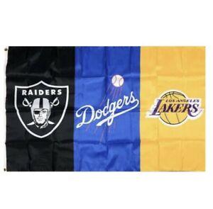 LA Dodgers Lakers Las Vegas Raiders Flag Banner 3x5 Ft NFL MLB NBA Sports Teams