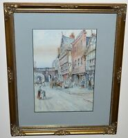 Lovely Northwest English Busy  City Center (Chester) People Working  Watercolour