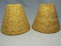 """2 Antique Vintage Gold Glass Beaded Shades Standard Clip On 4 1/4""""H X 5 1/4""""W"""