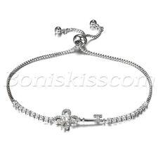 Women's Charm Cubic Zirconia Flower Key Freely Adjustable Bracelet Chain Link
