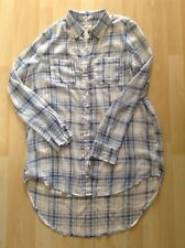 Women's Size Large Blue Check Sheer Shirt By Hollister
