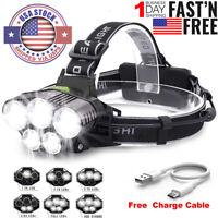 5X T6 LED Headlamp 350000LM Rechargeable Headlight Light Flashlight Torch Lamp