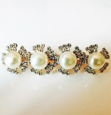 USA Hair Clip Claw Rhinestone Crystal Hairpin Jewel Pearl Fashion Gold 03