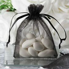 "10 pcs 3x4"" Black Organza Favor Bags Wedding Party Reception Gift Favors Sale"