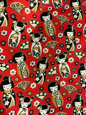 Red Geisha Japan Dolls Japanese Printed 100% Cotton Poplin Fabric