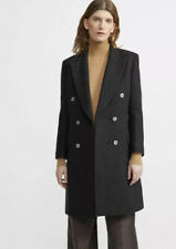 Theory Womens Charcoal Heavy Wool Tailored Coat Us2/uk 6.