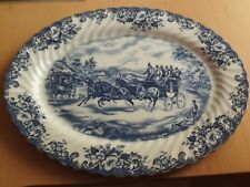 "VINTAGE JOHNSON BROS COACHING SCENES PASSING THROUGH BLUE+WHITE OVAL PLATE 14""L"