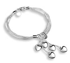 Echt 925 Sterling Silber Armband 5 Herz Silberarmband Herzarmband Damen NEU
