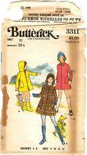 Vintage 1960s Butterick Sewing Pattern Child & Girl's RAIN COAT 3311 Sz 10 UNCUT
