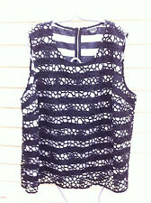 STYLISH BASQUE BLACK/WHITE STRIPED LACE OVER TOP SIZE: 22 NWOT RRP:$119.95