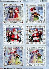 A4 Die Cut Foil Card Topper Sheet Snowman & Santa CDT589G Paper TOLE