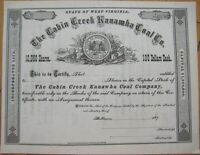 'Cabin Creek Kanawha Coal Co.' 1870 Mining Stock Certificate - West Virginia WV