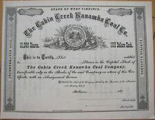 'Cabin Creek Kanawha Coal Co.' 1870 Mining Stock Certificate - West Virginia WV