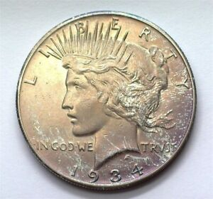1934-S PEACE SILVER DOLLAR UNCIRCULATED+ IRIDESCENT TONING!! SCARCE THIS NICE!!