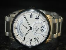 Men's Charmex Swiss Retrograde Silver Textured Dial Stainless Steel Watch S2785